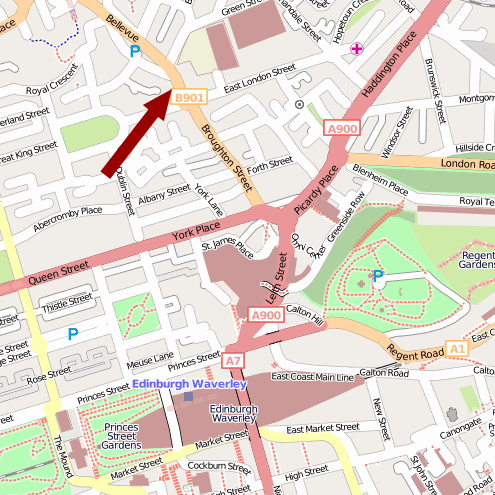 Map showing the location of the Thomas Hannah head office in Edinburgh